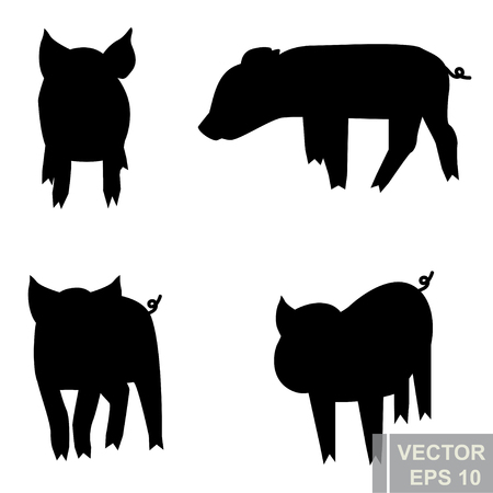 Pig. Animals For your design. Set. Cartoon character. Bright.