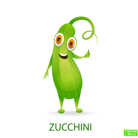 Vector image. ute vegetables character. Zucchini icons in cartoon style. 向量圖像