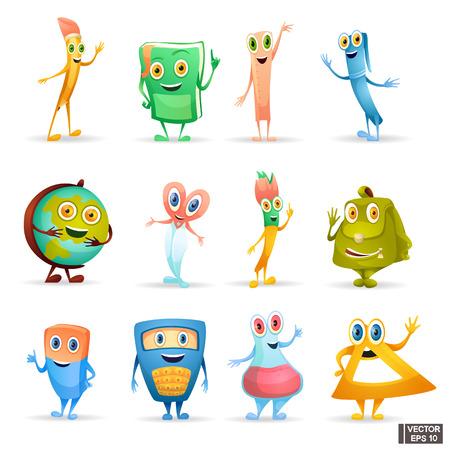 Image vectorielle. Ensemble de papeterie d'icônes. Fournitures scolaires de personnages de dessins animés. Retour à l'école. Vecteurs