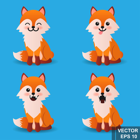 Fox. Cartoon style. Bright. Character. For your design. Vettoriali