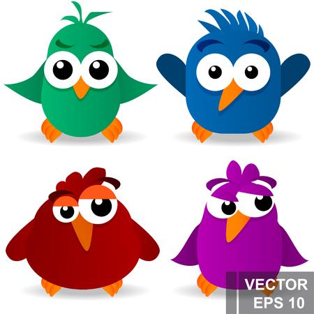 Pájaro divertido. Estilo de dibujos animados. Brillante. Contento. Por su diseño. Ilustración de vector