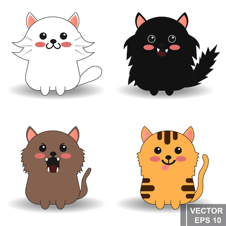 Cat. Cartoon style. Bright. Character. For your design. Animals Illustration