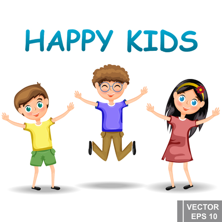 Children. Kid. Happy. Cartoon style. Bright. Character. For your design. Animals