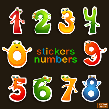 Vector image. Set of math cartoon characters. Cute funny stickers numbers.