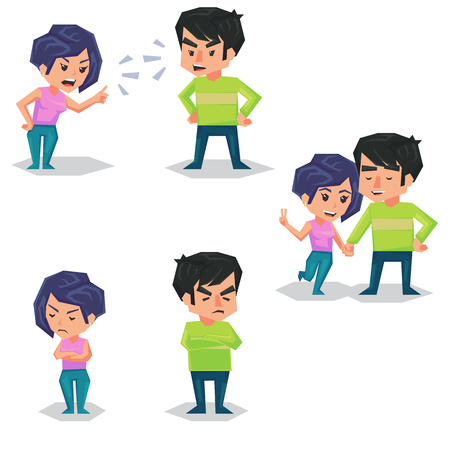 Couple man and woman characters quarrel turning their back to each other, concept in conflict, angry, arguing, breakdown, or divorce lover hate and love each other. flat cartoon illustration isolated on white background