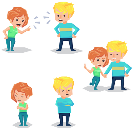 Couple man and woman characters quarrel turning their back to each other, concept in conflict, angry, arguing, breakdown, or divorce lover hate love. flat cartoon illustration