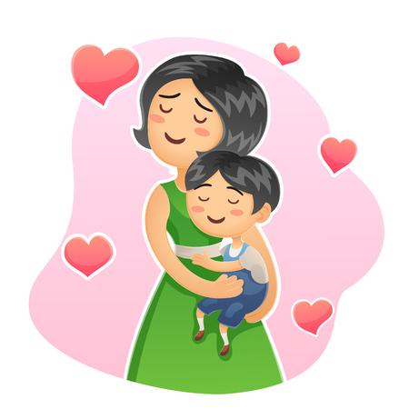 Cartoon happy family mother holding her child Mom care love her little kid hug Banco de Imagens