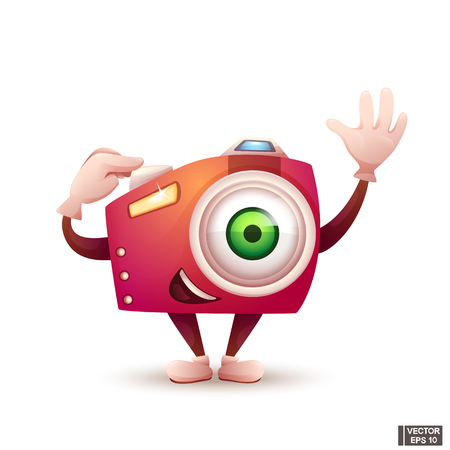 Vector image. Cute bright cartoon character photo camera in red. Takes a photo. Home electronic equipment. Illustration
