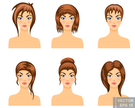 Hair. Set. Makeup. Bright. Cartoon style. For your design.