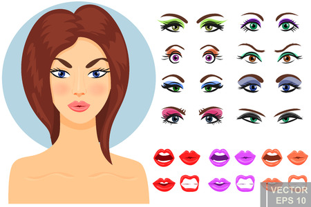 Women's eyes. Makeup. Sight. Bright. Pupil. Cartoon style. For your design.
