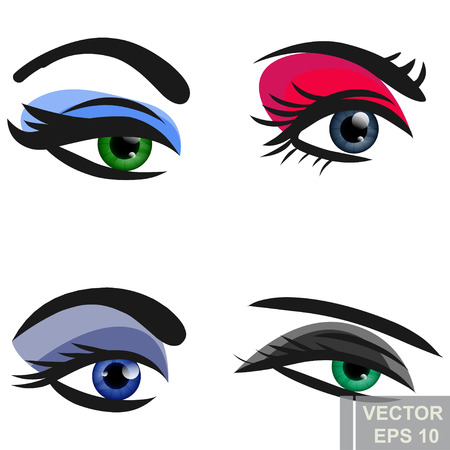 Women's eyes. Makeup. Sight. Bright. Pupil. Cartoon style. For your design. Banque d'images - 124737436