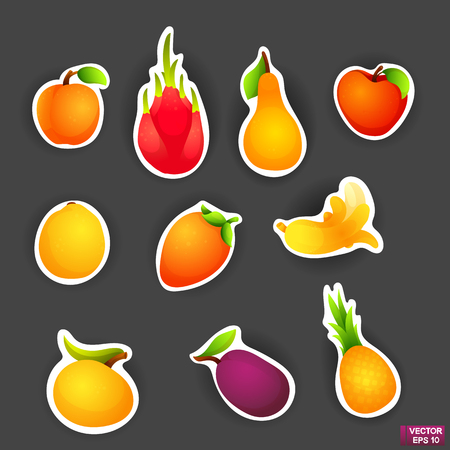 Vector image. Set of bright colored stickers with cartoon fruits. Vegetarian food
