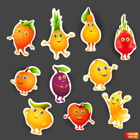 Vector image. Set of bright colored stickers cartoon characters fruits. Vegetarian food Illustration