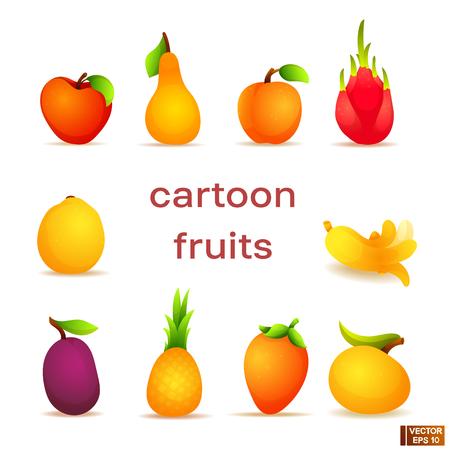 Vector image. Set of bright colored cartoon fruits. Vegetarian food.