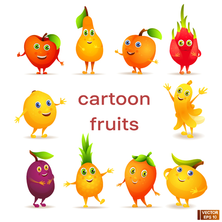 Vector image. Set of bright colored cartoon characters fruits. Vegetarian food
