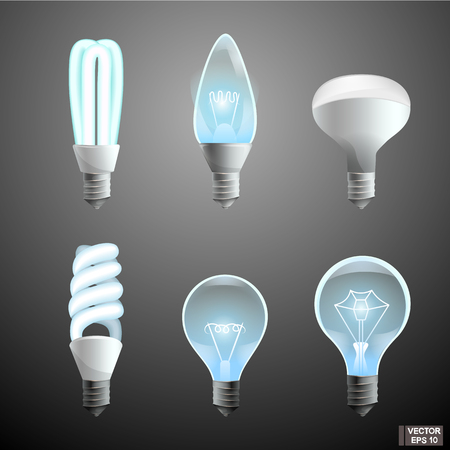Vector image. Set of cartoon icons of electric lamps.