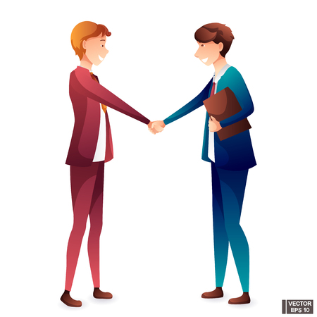 Vector set of business people team. Men in business suits shake hands. Conclusion deal, greeting, cooperation.