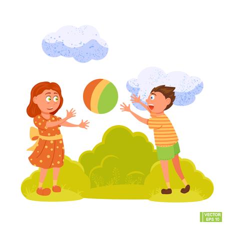 Vektorbild. Zeichentrickfiguren, Jungen und Mädchen spielen Ball. Kinder spielen auf dem Spielplatz.