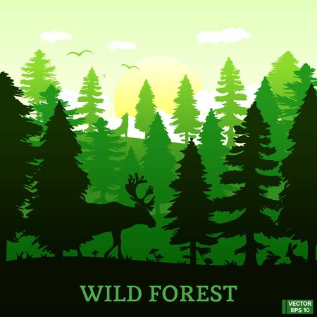 Vector image. Wild nature. Silhouette of a coniferous forest with animals. Square green banner with the image of a deer and bunnies.