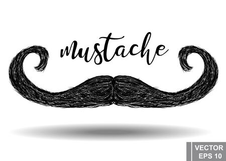Mustache. Icon. Hair. Hippie style. For your design.