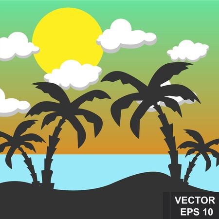 Summer landscape. Bright background. Modern stylish design. Palm trees. Sea. vacation. For printing on cards.