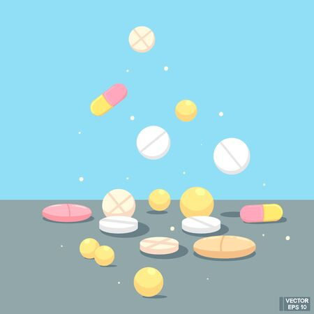 Vector image. Set of different pills in flat style. Medicines. 向量圖像