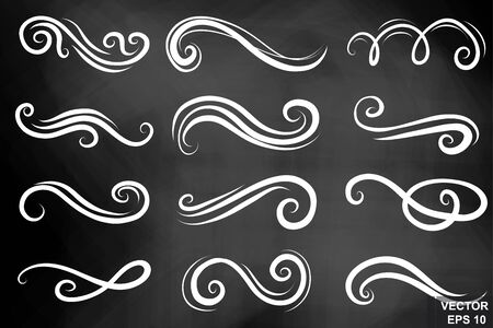 Chalk board. Curlicues. For the design of holiday cards. Lines. Zigzag. Wedding invitations.