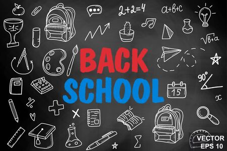 Chalk board. Back to school. Training. Hand drawing. For your design.