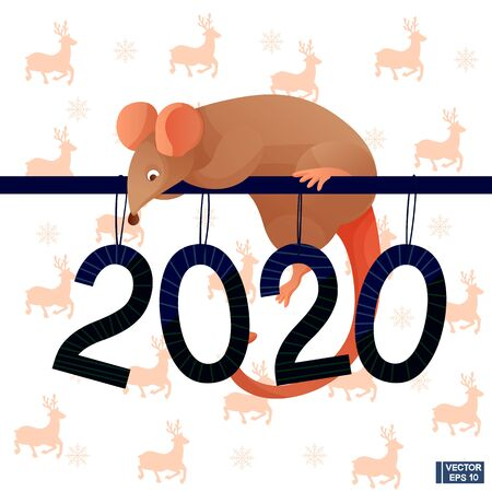 Happy New Year. Figures 2020 and funny rats