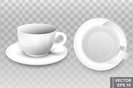 Realistic coffee mug. 3D Vector illustration for mockups. Advertising. For your design.