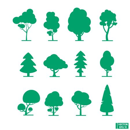 Flat trees set. Icon forest green tree.