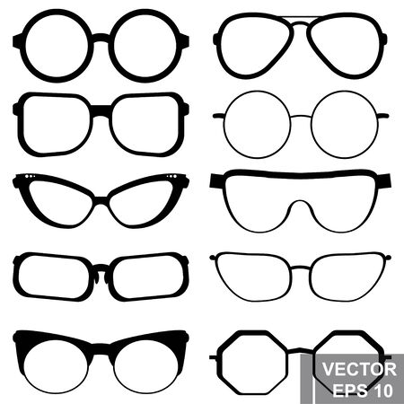 Big set of glasses. Sunscreens. Isolated over white background. For your design. Ilustracja