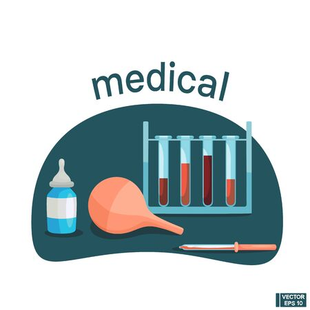 Vector illustration in flat style. Medicine concept. Test tubes and pipettes, clyster.