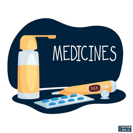 Vector illustration in flat style. Medicine concept. Pills capsules of the brown bottle. 向量圖像