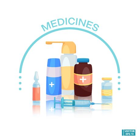 Vector illustration in flat style. Medicine concept. Pharmacy banner. Bottle, pill, first aid kit. Pharmacy and healthcare. Syringe for injection.