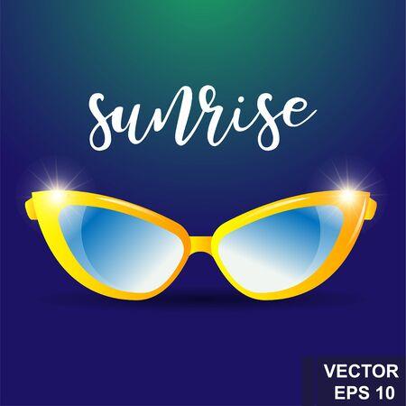 Realistic glasses. Sun protection. Fashionable. Sunrise. For your design. Illustration