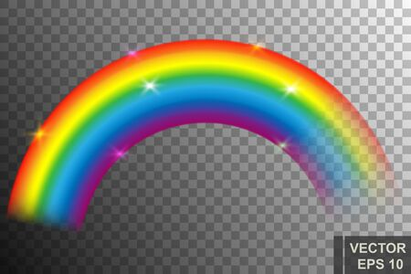 Realistic cartoon rainbow. Bright color. After the rain. For your design.