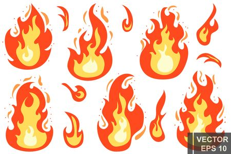 Estilo plano. El fuego. Dibujos animados. Caliente brillante. Fuego. Efecto. Por su diseño.