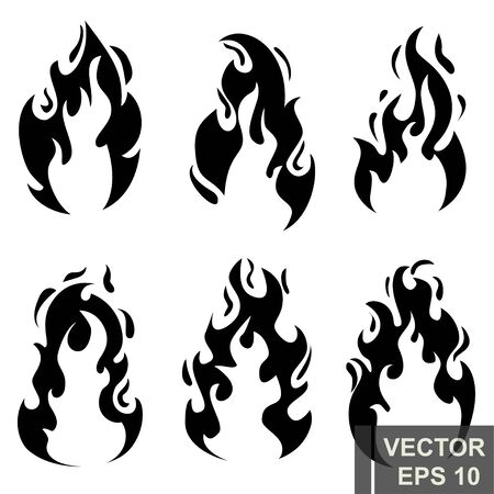 Flat style. The fire. Cartoon. Bright hot. Flame. Effect. For your design. Stok Fotoğraf