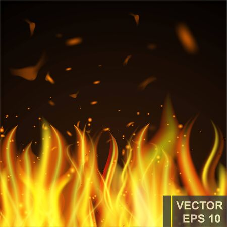 Realistic fire. Cartoon. Bright hot. Flame. Effect. For your design.