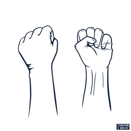 Raised fist icon. Clenched fist held in protest. 向量圖像