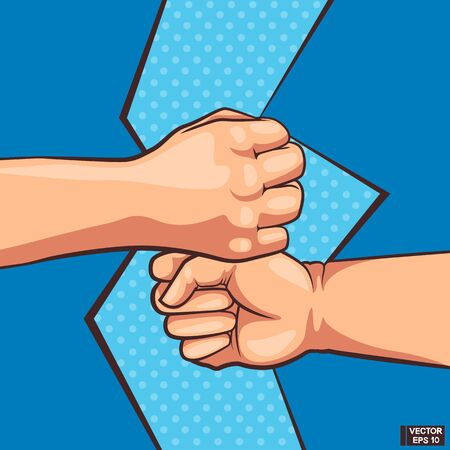 Vector illustration. Team work, cooperation. Hand drawn of two young persons fist bump top and down. Color comic book pop art. Vectores