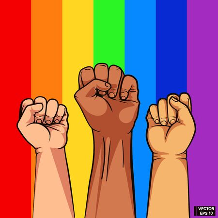 Vector illustration. Fist of different color of skin on rainbow background. Gay Pride. LGBT concept.