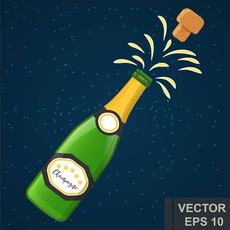 Champagne. Flat design. Spray. Holiday. New Years and Christmas. For your design.