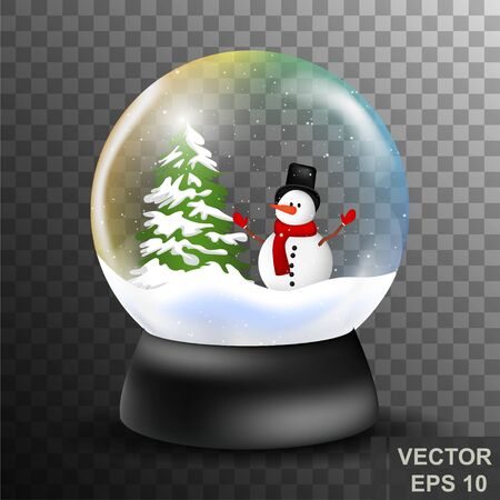 Snowball. New Years souvenir. Realistic. Snow. For your design.