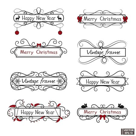 Collection of hand drawn swirls. Christmas design elements set.