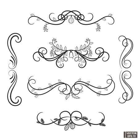 Collection of hand drawn swirls. Filigree design elements set.