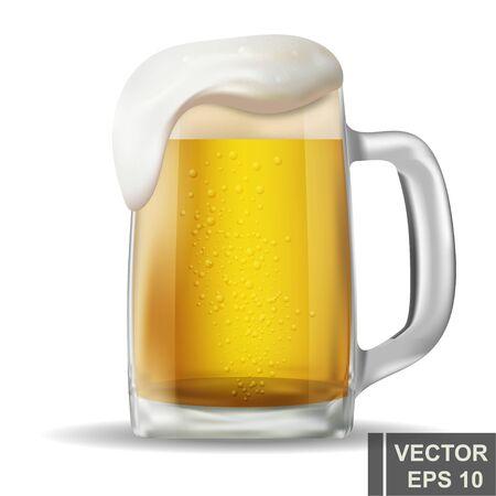 realistische bierpul. Alcoholische drank. Helder. Geïsoleerd voorwerp. Voor uw ontwerp.