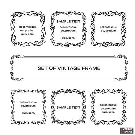 Vector image. Set of vintage frames. Scrolls and curls, elements for design.