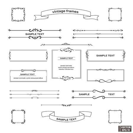 Imagen vectorial. Conjunto de cuadros vintage. Rollos y rizos, elementos de diseño. Ilustración de vector